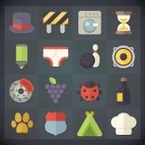 Symboler för universell lägenhet för rengöringsduk och mobiluppsättning 15 Royaltyfria Foton
