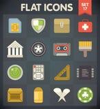 Symboler för universell lägenhet för rengöringsduk och mobiluppsättning 17 Royaltyfri Fotografi