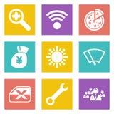 Symboler för uppsättning 46 för rengöringsdukdesign Arkivfoton