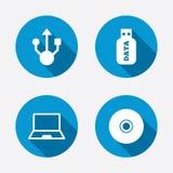 Symboler för Usb-exponeringsdrev Anteckningsbok- eller bärbar datorPC Royaltyfri Fotografi