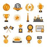 Symboler för utmärkelser för framgång för vinnare för mästare för heder för stjärna för krona för trofémedaljemblem ställde in de arkivbilder