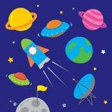 Symboler för utrymmeskepp med planeter, raket, stjärnor och astronautet Arkivfoto