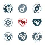 Symboler för utveckling för kugghjulsystemmakt Arkivfoton