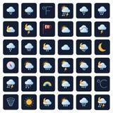 Symboler för väderprognosvektor Klimat- och meteosymboler royaltyfri illustrationer
