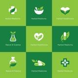 Symboler för växt- medicin på grön bakgrund royaltyfri illustrationer