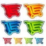 symboler för vagn för shopping 3D Arkivbild