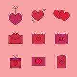 Symboler för valentin dag: hjärta på en rad, hjärtan med en pil, vykort, kalendrar, gåvor royaltyfri foto