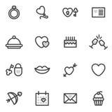 Symboler för Valentine Day vektoröversikt som utförs i den moderna stilen logoer Arkivbild