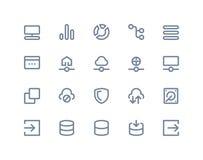 Symboler för vara värd och för trådlöst nätverk Linje serie Royaltyfri Foto