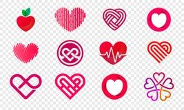 Symboler för vektor för abstrakt begrepp för hjärtalogouppsättning vektor illustrationer