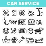 Symboler in för vektor för bilservice ställde linjära den tunna pictogramen stock illustrationer