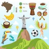 Symboler för vektor Brasilien och Rio de Janeiro vektor illustrationer