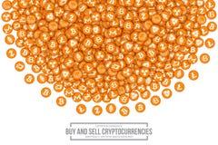 Symboler för vektor 3D Cryptocurrency Bitcoin Fotografering för Bildbyråer