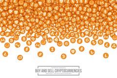Symboler för vektor 3D Cryptocurrency Bitcoin Royaltyfri Bild