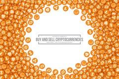 Symboler för vektor 3D Cryptocurrency Bitcoin Royaltyfria Foton