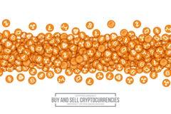 Symboler för vektor 3D Cryptocurrency Bitcoin vektor illustrationer