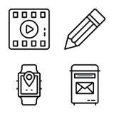 Symboler för vektor för datakommunikation packar royaltyfri illustrationer