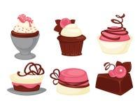 Symboler in för vektor för efterrätter för kaka- och muffinbakelse ställde söta vektor illustrationer