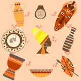 Symboler för vektor för Afrika safariuppsättning Rituella objekt Royaltyfri Foto