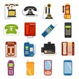 Symboler för vektor för apparat för kontakt för appell för telefonsymbolskommunikation vektor illustrationer