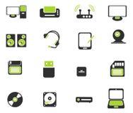 Symboler för vektor för datorutrustning enkla Fotografering för Bildbyråer