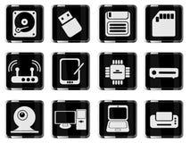 Symboler för vektor för datorutrustning enkla Arkivbild