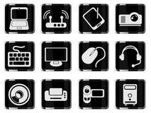 Symboler för vektor för datorutrustning enkla Arkivbilder