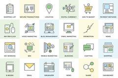 Symboler 1 för vektor för Digital marknadsföring djärva Fotografering för Bildbyråer