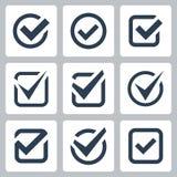 Symboler för vektor för kontrollask Royaltyfri Foto