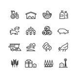 Symboler för vektor för lantgårdskörd linjära Agronomi- och lantbrukpictograms Jordbruks- symboler royaltyfri illustrationer