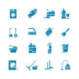 Symboler för vektor för lokalvårdprodukt och tjänstkontur Tvättande tillförsel och svarta symboler för hushållsarbete royaltyfri illustrationer