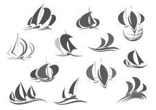 Symboler för vektor för lopp för yacht för saleboat för seglingskepp vektor illustrationer