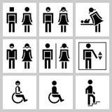 Symboler för vektor för stiliserat tillträde för för konturman och kvinna offentligt ställde in Royaltyfria Bilder