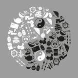 Symboler för vektor för symboler för Kina temasvart fastställda Arkivbild
