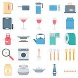 Symboler för vektor för kökutrustning färg isolerade stock illustrationer