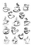 Symboler för vektor för kaffekoppar ställde in för kafeteria eller kafé stock illustrationer