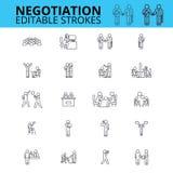 Symboler för vektor för Negogiation expertisouline Redigerbara slaglängder Uppsättning för tecken för affärsmöte Den Negogiation  vektor illustrationer