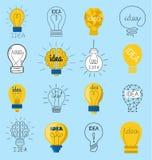 Symboler för vektor för sött för affärsidé begrepp för ljus kula planlägger idérika Kreativitet för elkraft för innovation för ku vektor illustrationer