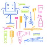 Symboler för vektor för skönhetsalong linjära och designbeståndsdelar Hårfrisörhjälpmedel och utrustning som isoleras på vit bakg royaltyfri illustrationer