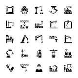 Symboler för vektor för tillverkningrobotteknikskåra royaltyfri illustrationer