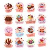 Symboler för vektorefterrättcackes för bageri shoppar kafét vektor illustrationer