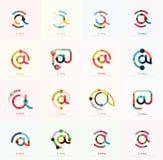 Symboler för vektoremailaffär eller på teckenlogouppsättningen Linjär minimalistic plan symbolsdesignsamling Royaltyfri Bild