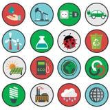 Symboler för vektorgräsplaneco, ekologi vektor illustrationer