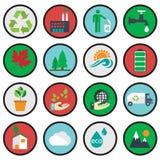 Symboler för vektorgräsplaneco, ekologi royaltyfri illustrationer
