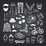 Symboler för vektorhipsterklotter på svart svart tavlaillustration stock illustrationer