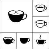 Symboler för vektorkaffekopp Arkivbild