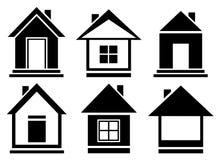 Symboler för vektorsamlingshus Royaltyfri Bild