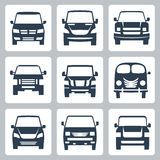 Symboler för vektorskåpbilar (främre sikt) ställde in Fotografering för Bildbyråer