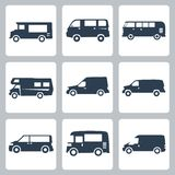 Symboler för vektorskåpbilar (sidosikt) ställde in Royaltyfri Fotografi