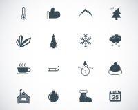 Symboler för vektorsvartvinter Royaltyfri Foto